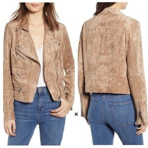 Blank NYC Brick Wall Faux Suede Tan Moto Jacket